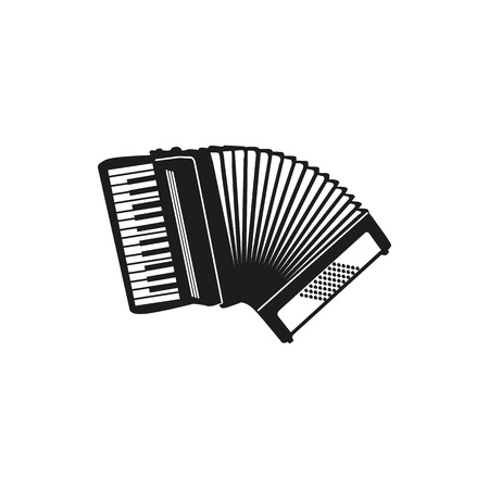 concertina: Black simple Accordion icon isolated on white background. Elements for company logos, print products, page and web decor. Vector illustration. Illustration