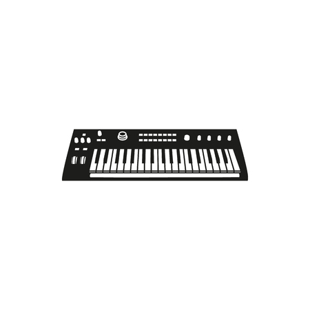 modulation: Black simple Synthesizer icon isolated on white background. Elements for company logos, print products, page and web decor. Vector illustration.