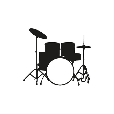 Black simple silhouette of the drum set icon isolated on white background. Elements for company logos, print products, page and web decor. Vector illustration.
