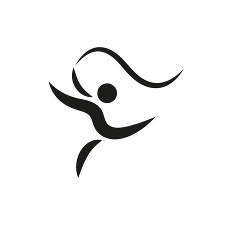 Vector, actividades de gimnasia para el logotipo o icono de la salud y la comunidad de fitness Creado Por Mobile, Web, decoración, impresión Productos, Aplicaciones. conjunto de iconos de negro sobre fondo blanco. Ilustración del vector. Logos
