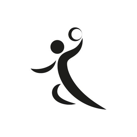 Handbalspeler symbool Pictogram gemaakt voor mobiel, web, decor, printproducten, toepassingen. Zwarte pictogramreeks die op witte achtergrond wordt geïsoleerd. Vector illustratie.