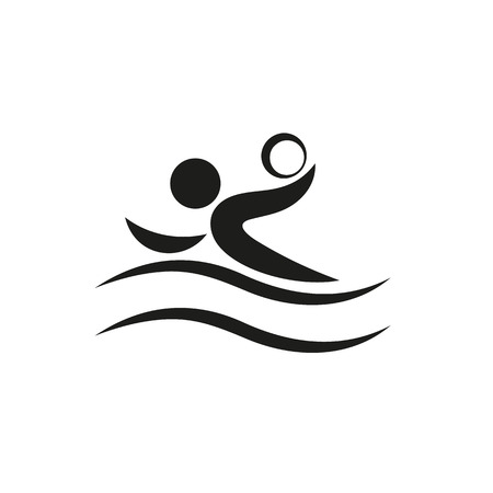pool player: Swimmer playing water polo symbol for download. Vector icons for video, mobile apps, Web sites and print projects.