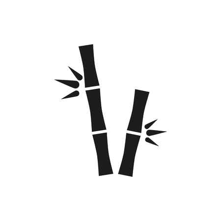 lucky bamboo: simple black bamboo stems icon isolated on white background. Elements for company, print products, page and web decor. Vector illustration.