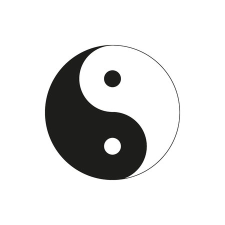 ying yan: Ying yang symbol of harmony and balance isolated on white background. Elements for company, print products, page and web decor. Vector illustration. Illustration