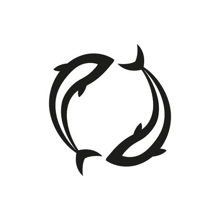 물고기 자리 간단한 검은 아이콘 흰색 배경에 고립. 회사, 인쇄물, 페이지 및 웹 장식 요소. 벡터 일러스트 레이 션.