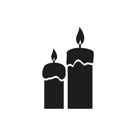 birthday religious: Two candles simple black icon isolated on white background. Elements for company, print products, page and web decor. Vector illustration. Illustration