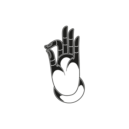 jnana: Vector illustration in black and white with hand in pose Jnana or Chin mudra and buddhist sign Om. Simple black icon isolated on white background. Vector illustration.