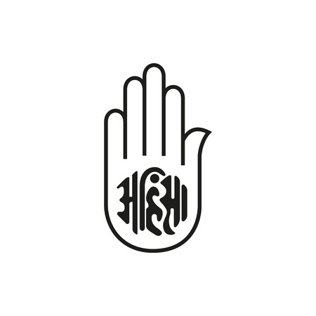 ahimsa: Illustration of Jain Emblem simple black icon isolated on white background. Elements for company, print products, page and web decor. Vector illustration.
