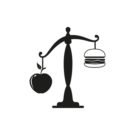 Apple or burger food design. Healthy diet or hamburger, fruit or unhealthy cheeseburger, fresh or fast,  choice and decision, lunch sandwich or apple vector illustration Illustration