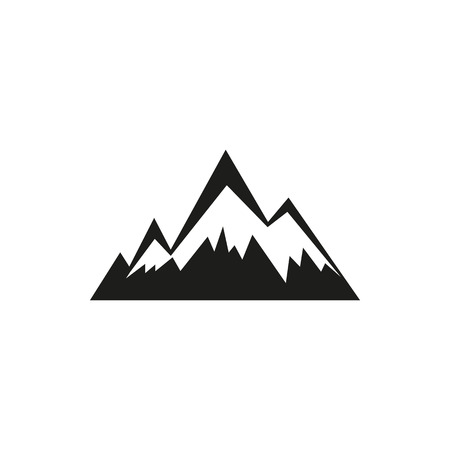 Mountains web simple black icon isolated on white background. Elements for company, print products, page and web decor. Vector illustration.