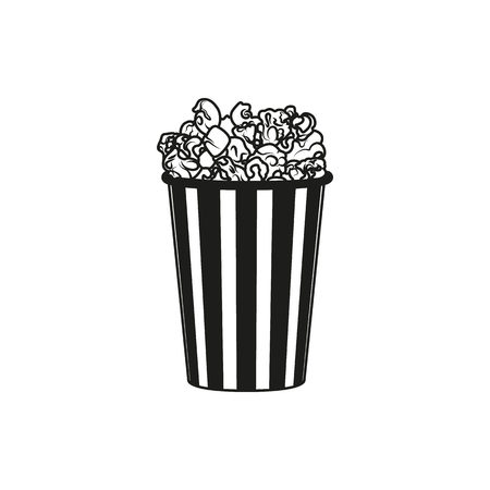 Popcorn simple black icon isolated on white background. Elements for company print products, page and web decor. Vector illustration.