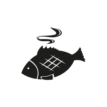 simple fish: Fish simple black icon isolated on white background. Elements for company print products, page and web decor. Vector illustration. Illustration