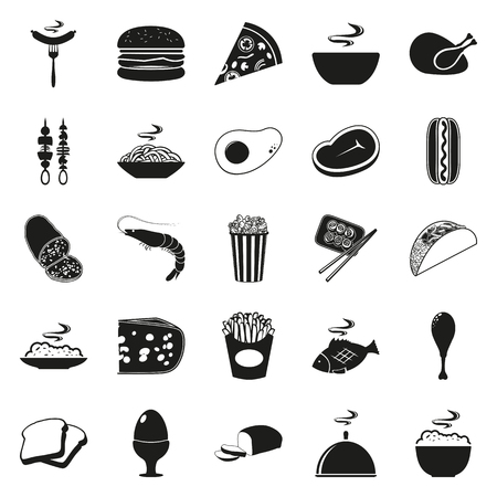 continental food: Simple black style Food Icon Set. simple black icon isolated on white background. Elements for company print products, page and web decor. Vector illustration.