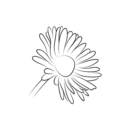 camomile flower: camomile or daisy flower lined minimal Icon Created For Mobile, Web And Applications. Simple black icon isolated on white background. Vector illustration.