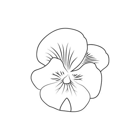 팬지 꽃, 모바일, 웹 및 응용 프로그램을 위해 만든 최소한의 아이콘을 늘어서있다. 간단한 검은 아이콘 흰색 배경에 고립. 벡터 일러스트 레이 션.