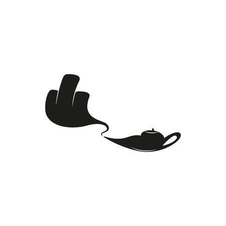 obscene gesture: arm protrudes from the lamp and showing middle finger up. fuck you, fuck off. Minimal Icon Created For Mobile, Web, Decor. Simple black icon isolated on white background. Vector illustration. Fuck.