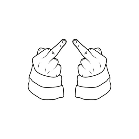 obscene gesture: hand showing middle finger up. fuck you, fuck off. Minimal Icon Created For Mobile, Web, Decor, Print Products, Applications. Simple black icon isolated on white background. Vector illustration. Fuck. Illustration