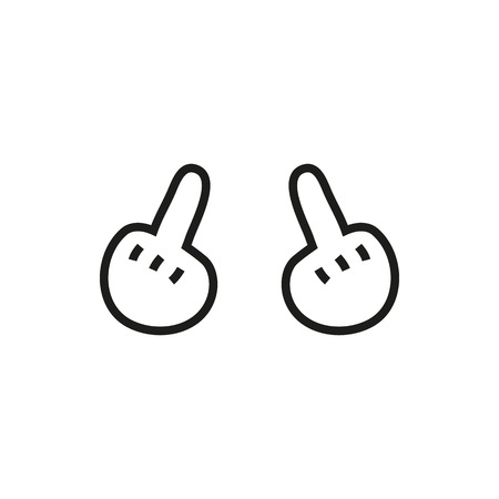 show off: hand showing middle finger up. fuck you, fuck off. Minimal Icon Created For Mobile, Web, Decor, Print Products, Applications. Simple black icon isolated on white background. Vector illustration. Fuck. Illustration