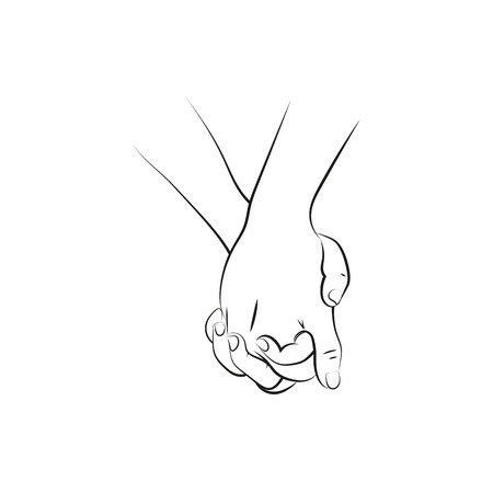 Outline illustration of a female and a male person holding hands  Icon Created For Mobile, Web And Applications. Simple black icon isolated on white background. Vector illustration. Ilustracja