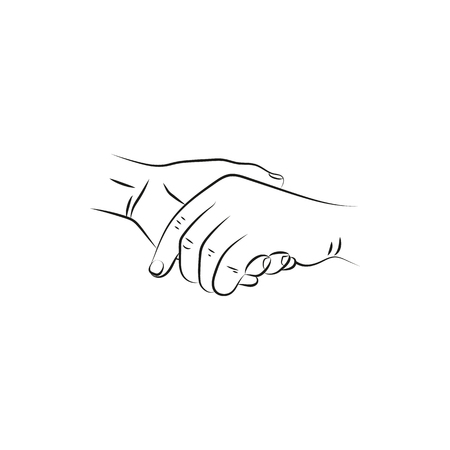 closeness: illustration vector drawn female and a male person holding hands.  Icon Created For Mobile, Web And Applications. Simple black icon isolated on white background. Elements for company print products, page and web decor. Vector illustration.