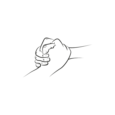 brotherhood: Outline illustration of a firm (helping, rescuing) handshake.  Icon Created For Mobile, Web And Applications. Simple black icon isolated on white background.  Vector illustration. Illustration