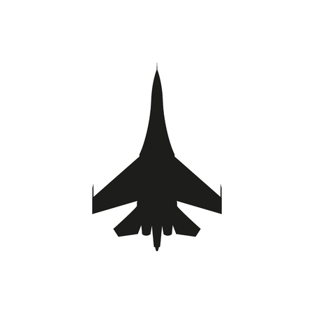 military aircraft: simple black Military aircraft icon isolated on white background. Elements for company print products, page and web decor. Vector illustration.