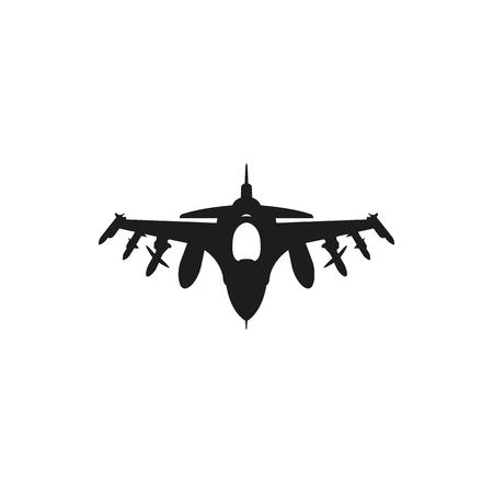 黒いジェット戦闘機アイコンは、白い背景で隔離。会社の要素が印刷製品、ページ、web の装飾。ベクトルの図。  イラスト・ベクター素材