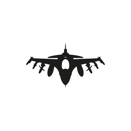 black Fighter Jet icon isolated on white background. Elements for company print products, page and web decor. Vector illustration.