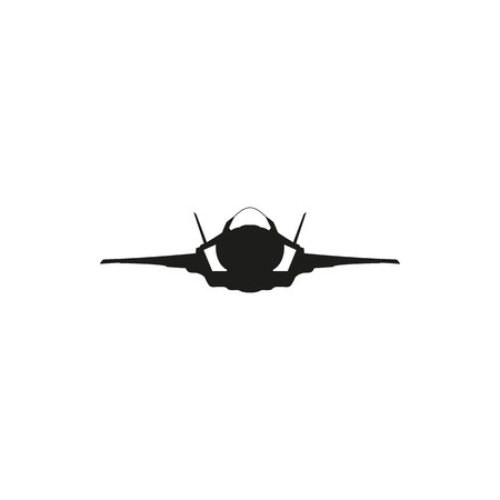 supersonic: simple black fighter jet plane icon isolated on white background. Elements for company print products, page and web decor. Vector illustration.