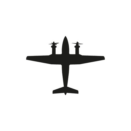 fuselage: simple black propeller plane icon isolated on white background. Elements for company print products, page and web decor. Vector illustration.