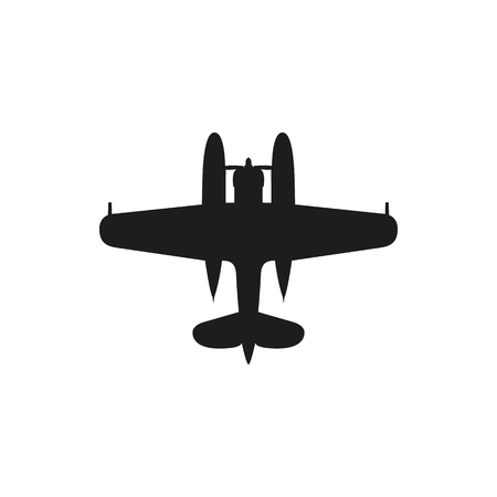 airplane ultralight: simple black Float Plane icon isolated on white background. Elements for company print products, page and web decor. Vector illustration. Illustration