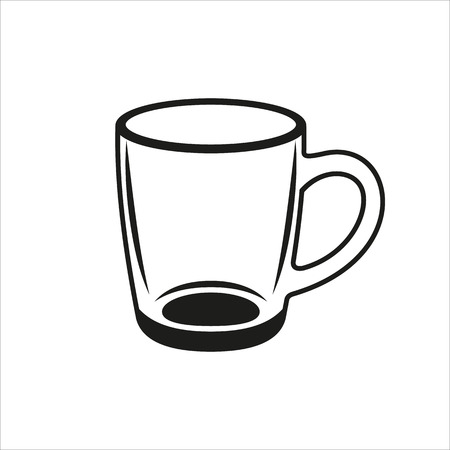 tumbler: Transparent cup icon Created For Mobile, Web, Decor, Print Products, Applications. Black icon isolated on white background