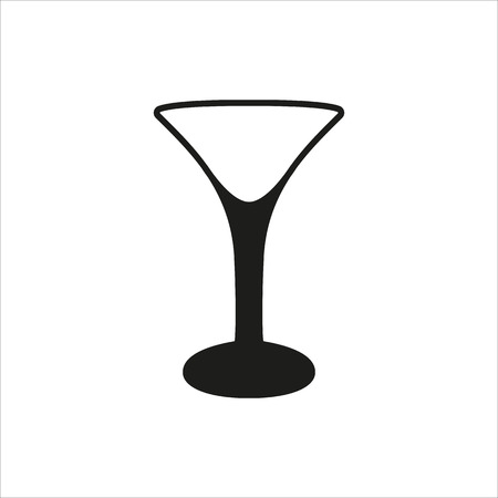 Empty transparent martini glass cup icon Created For Mobile, Web, Decor, Print Products, Applications. Black icon set isolated on button. Vector illustration.
