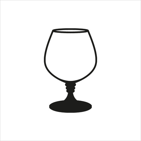 brandy: Transparent vector glass goblets in simple monochrome style. Brandy sniffer empty transparent icon Created For Mobile, Web, Decor, Print Products, Applications. Black icon isolated on white background Illustration