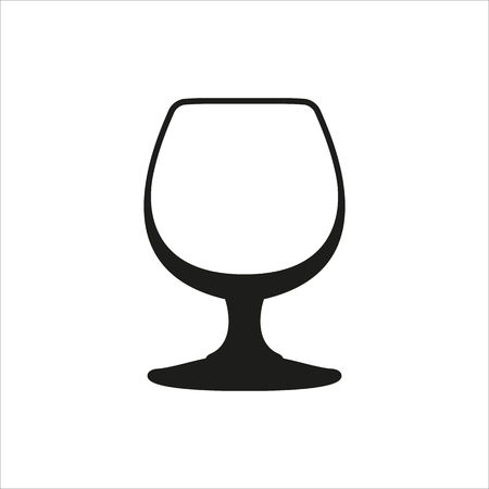 sniffer: Transparent vector glass goblets in simple monochrome style. Brandy sniffer empty transparent icon Created For Mobile, Web, Decor, Print Products, Applications. Black icon isolated on white background Illustration