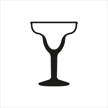 Cocktail margarita empty glass icon Created For Mobile, Web, Decor, Print Products, Applications. Black icon isolated on white background