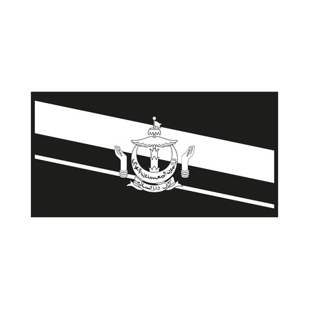 brunei darussalam: Flag of Brunei. Icon Created For Mobile, Web, Decor, Print Products, Applications. Simple black icon isolated on white background. Vector illustration.