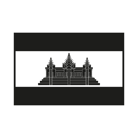 cambodian: Flag of Cambodia. Icon Created For Mobile, Web, Decor, Print Products, Applications. Simple black icon isolated on white background. Vector illustration.