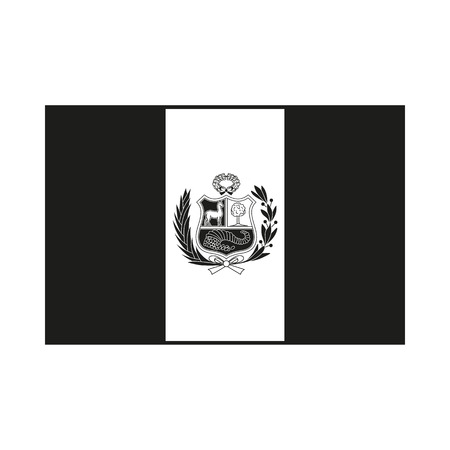 State flag of Peru Icon Created For Mobile, Web, Decor, Print Products, Applications. Black icon isolated on white background. Vector illustration.