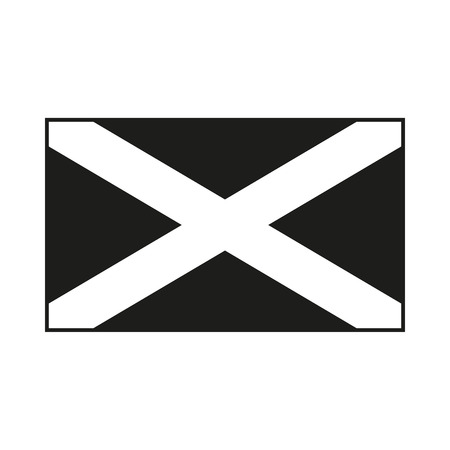 scots: Flag of Scotland. Saint Andrews Cross. Icon Created For Mobile, Web, Decor, Print Products, Applications. Black icon isolated on white background. Vector illustration.
