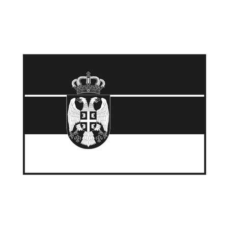 serb: Flag of Serbia Icon Created For Mobile, Web, Decor, Print Products, Applications. Black icon isolated on white background. Vector illustration.