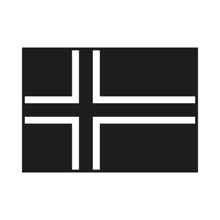 Flag of the Iceland Icon Created For Mobile, Web, Decor, Print Products, Applications. Black icon isolated on white background. Vector illustration. Vettoriali