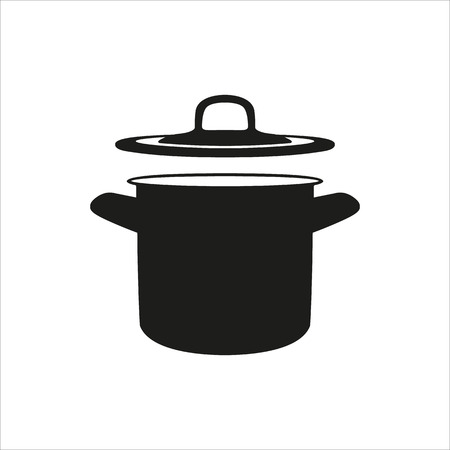 casserole: pan, saucepan, pot, casserole, cooker, stewpan icon Created For Mobile, Web, Decor, Print Products, Applications. Black icon set isolated on button. Vector illustration.