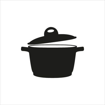 pan, saucepan, pot, casserole, cooker, stewpan icon Created For Mobile, Web, Decor, Print Products, Applications. Black icon set isolated on button. Vector illustration.