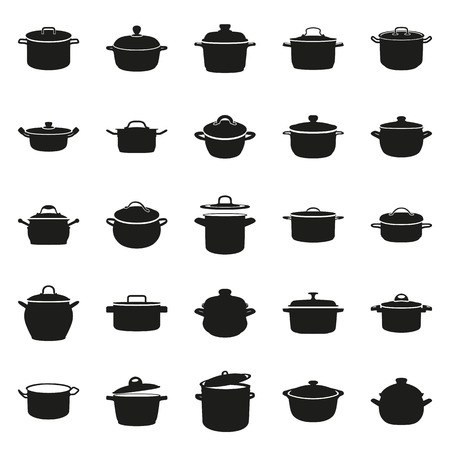 casserole: pan, saucepan, pot, casserole, cooker, stewpan icon set Created For Mobile, Web, Decor, Print Products, Applications. Black icon set isolated on button. Vector illustration.