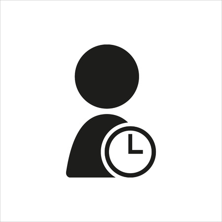 time account: user timer icon in simple black design Created For Mobile, Web, Decor, Print Products, Applications. Black icon isolated. Vector illustration. Illustration