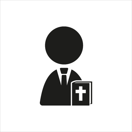 black nun: Nun and bible icon in simple black design Created For Mobile, Web, Decor, Print Products, Applications. Black icon isolated. Vector illustration.