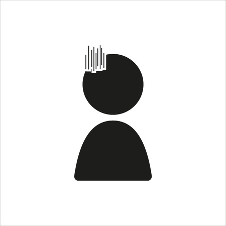 sullen: Emotion anime icon sad in simple black design Created For Mobile, Web, Decor, Print Products, Applications. Black icon isolated. Vector illustration.