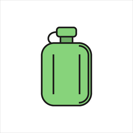 Hip flask simple icon on white background Created For Mobile, Web, Decor, Print Products, Applications. Color icon isolated. Vector illustration. Illustration