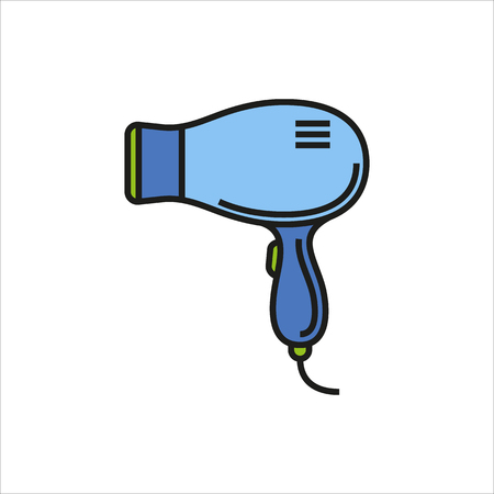 Hairdryer icon Created For Mobile, Web, Decor, Print Products, Applications. Color icon isolated. Vector illustration.
